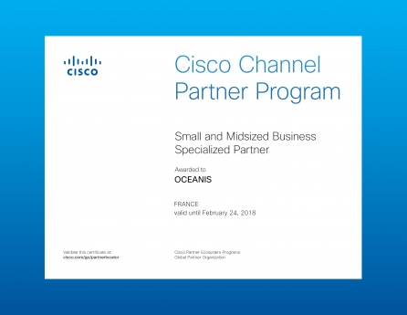 Certification Cisco Small and Midsized Business Specialised Partner